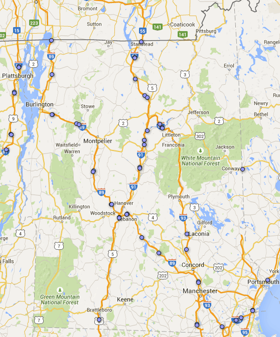 new hampshire rest area-map